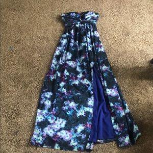 Strapless dark blue, aqua, purple dress